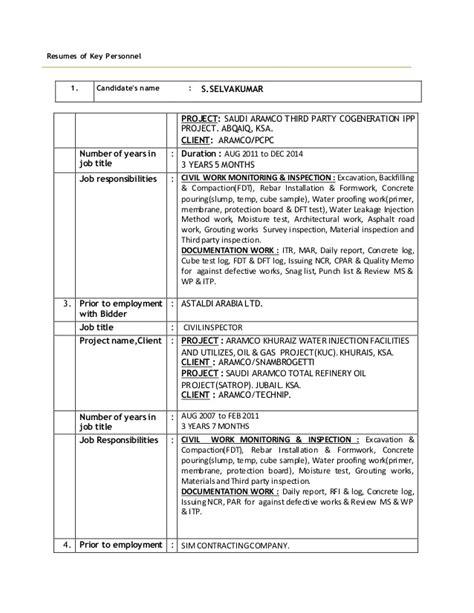 resume of key perssonel cv 1