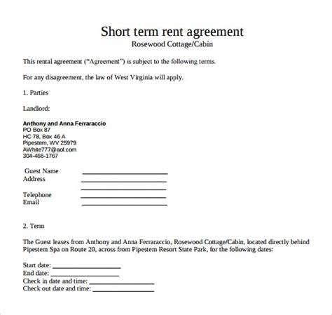 sample short term rental agreements   ms