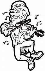 Coloring Leprechaun Irish Dancing Playing Violin Instruments Fiddling Patricks Printable Singing Getcolorings Printables Saint sketch template