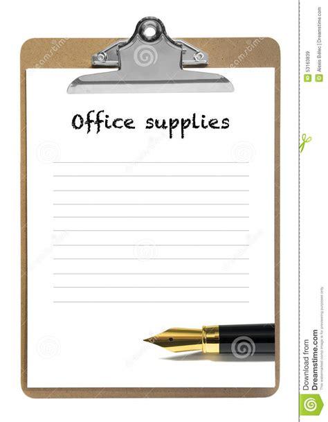 liste fourniture de bureau liste de fourniture de bureau image stock image 53163839