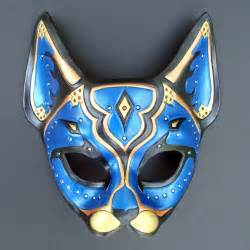 cat mask costumes colors vary leather blue cat blue