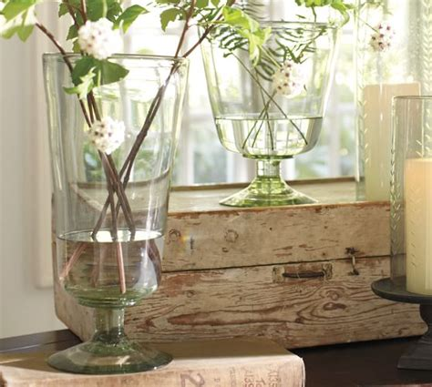 recycled glass footed vase pottery barn