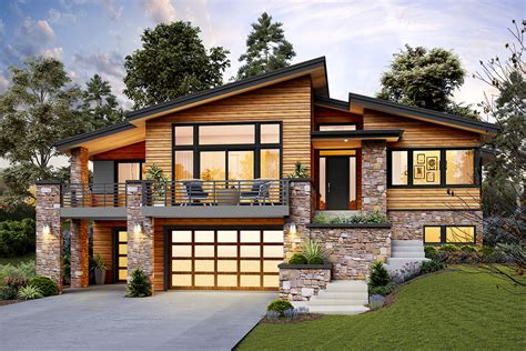 A professional designer will need several hours to learn the software. Modern Home Plan for an Up-Sloping Lot - 69746AM | Architectural Designs - House Plans