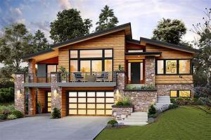 Modern, Home, Plan, For, An, Up-sloping, Lot, -, 69746am