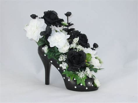 black  white rose floral arrangement   ceramic black