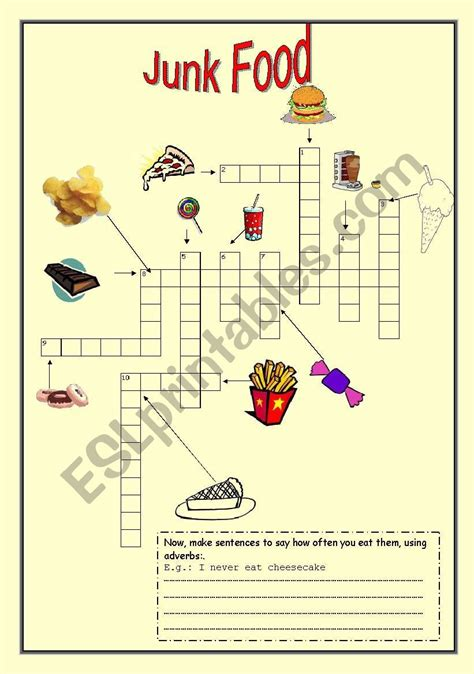 Healthy And Unhealthy Food Crossword Healthy Crossword Puzzles15 Best Images Of Junkfood