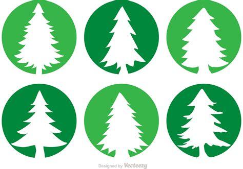 cedar trees circle vector icons   vector art