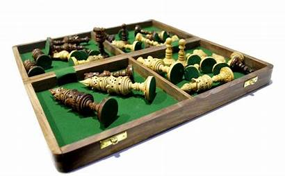 Chess Pieces Carved Wooden Hand Board Detailed
