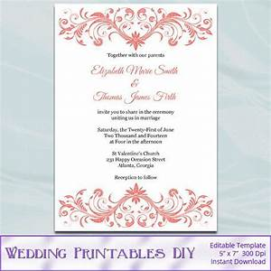 coral wedding invitation template diy printable bridal With blank coral wedding invitations