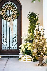 Silver, And, Gold, Christmas, Front, Porch