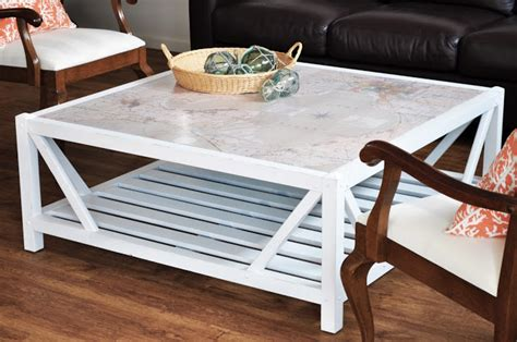 Coastal Map Covered Coffee Table  The Painted Hive