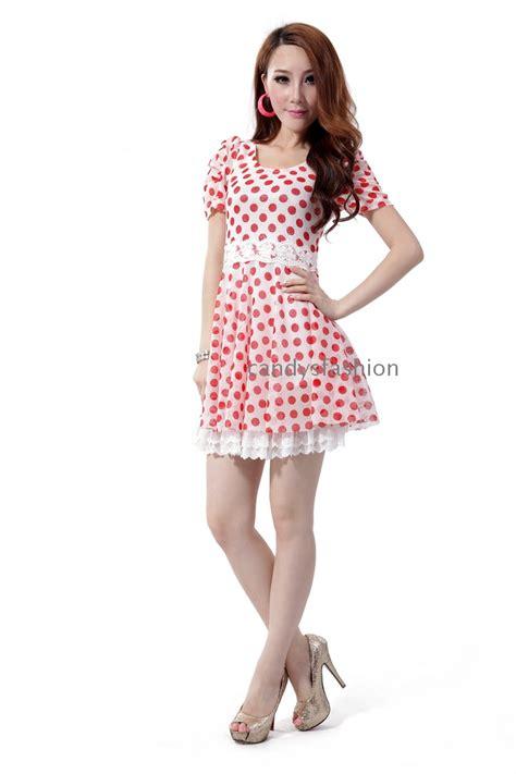 flexible l neck material 2012 summer mini dress korea style round neck dots
