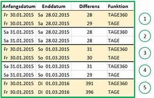 Excel Tabelle Summe Berechnen : excel datum differenz mit der funktion tage360 berechnen ~ Themetempest.com Abrechnung