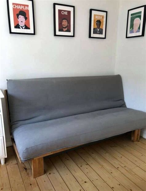 Available in various contemporary designs with a range of hardwood frame and colour options. Very strong 3 seater futon sofa bed solid oak and steel ...