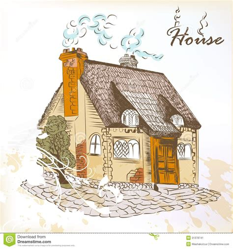 hand drawn sketch   house  english style stock