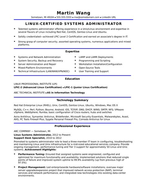 System Administrator Resume by Sle Resume For A Midlevel Systems Administrator