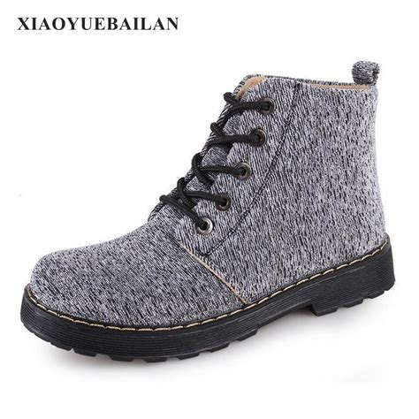mid autumn womens flat bottom boots canvas comfortable