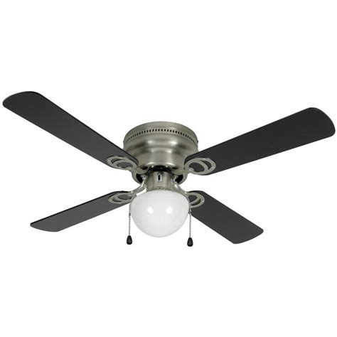 satin nickel 42 quot hugger ceiling fan w light kit 3611