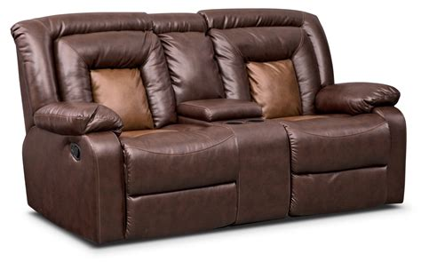 recliner loveseat with console mustang dual reclining loveseat with console brown