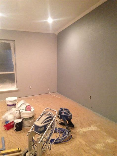 Behr Marquee paint in Silver City (left) and Silent Film
