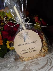 quotappley ever afterquot caramel apple wedding favors for a With caramel apples wedding favors