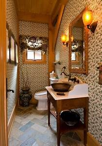 vermont timber frame residence traditional powder room With interior decorators in vermont
