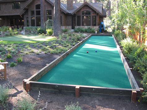 Backyard Bocce Court Dimensions by Bocce Court With Synthetic Turf Garden Ideas