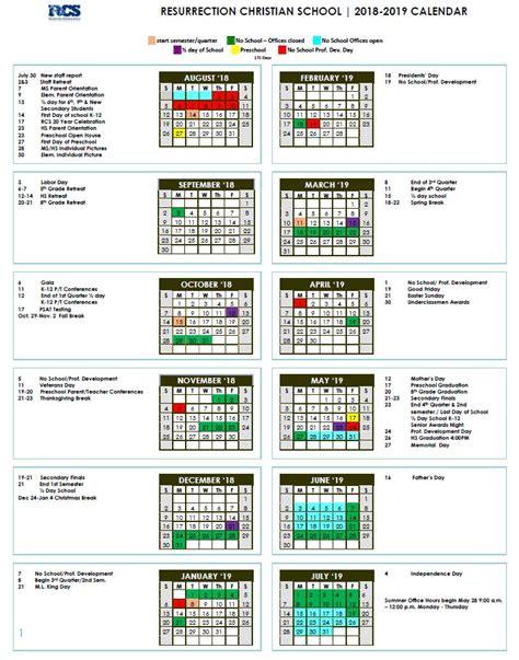 calendar resurrection christian schoolresurrection