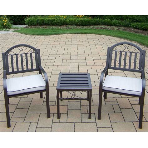 oakland living rochester 3 chairs and table set with