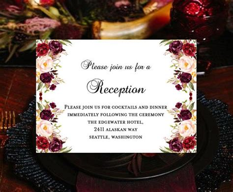 wedding reception invitations burgundy red blush pink