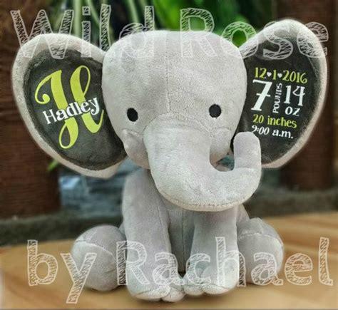 birth announcement stuffed animal personalized elephant baby boy baby girl newborn gift