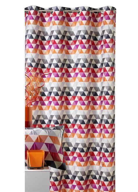 rideau d ameublement motifs triangles mandarine bleu