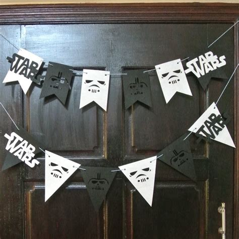 party garland star wars flags bunting black  white