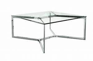 Table Verre Trempé : table basse inox et verre tremp carr croisements 80x80 so skin ~ Teatrodelosmanantiales.com Idées de Décoration