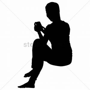 Businesswoman sitting while using her phone silhouette ...