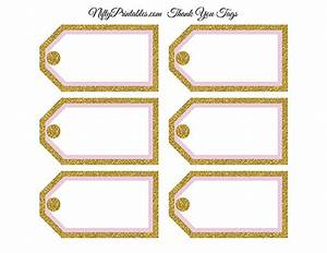 Blank Favor Tags - Pink Gold Glitter - Nifty Printables