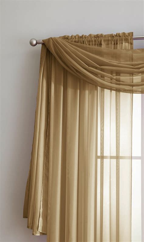 gold sheer curtains warm home designs gold window scarf valance sheer gold