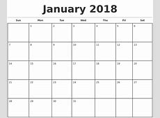 January 2018 Monthly Calendar Template Planning