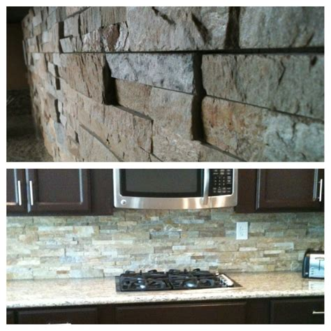 stacked stone backsplash  granite countertops