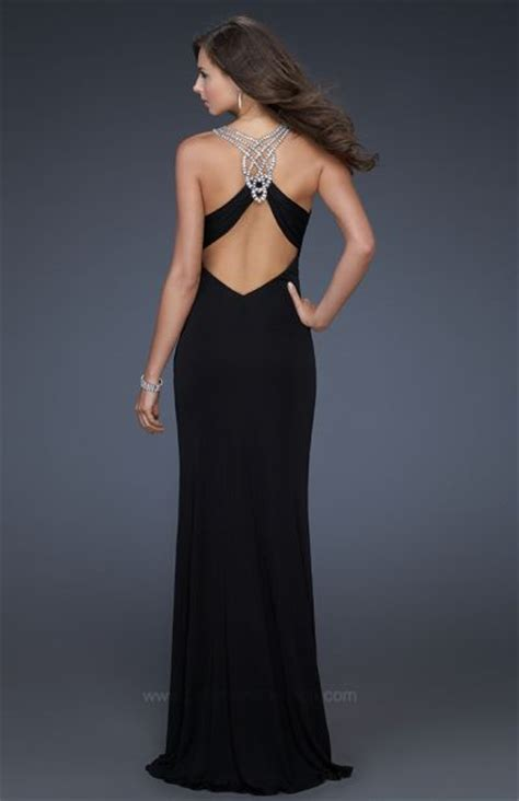 la femme black jersey long evening dress  rhinestones