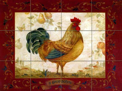 Travertine Vivid Art Rooster Kitchen Mural Backsplash Bath