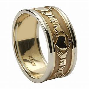 14k yellow gold men39s claddagh wedding ring 99mm With mens claddagh wedding rings
