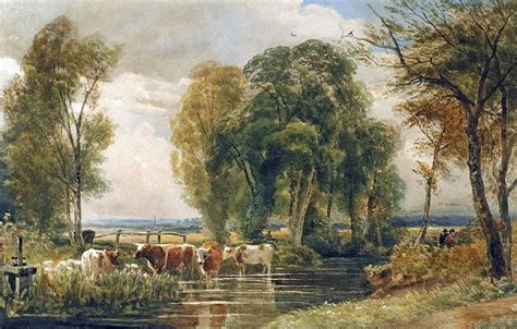 Landscape Cattle In A Stream With Sluice Gate Painting by ...