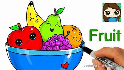Fruit Bowl Draw Drawing Easy Basket Fruits