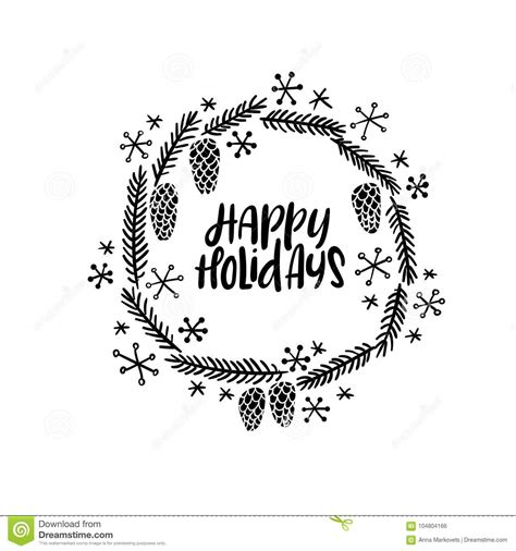 Happy Holidays Hand Lettering Greeting Card Vector