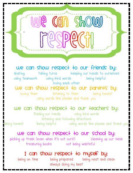 Showing Respect, Free Printable  Or You Could Make This Into An Anchor Chart With The Kids