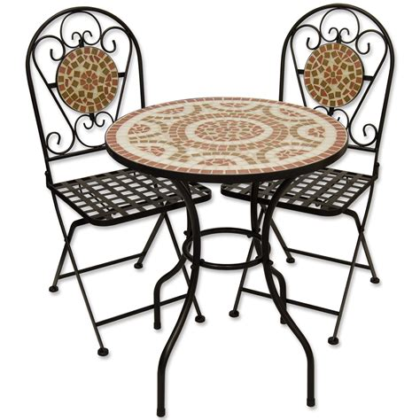 mosaic outdoor dining garden table and folding chair set