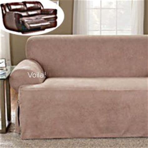 reclining sofa t cushion slipcover suede taupe adapted for