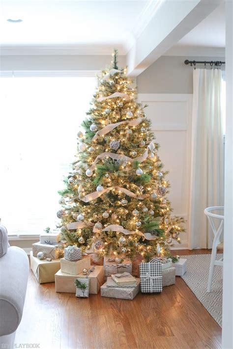 neutral christmas tree  metallic buffalo check trim