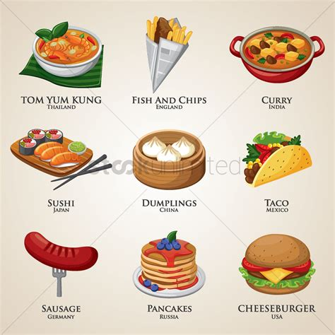 premium cuisines a collection of food around the vector image